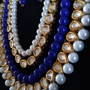 Indigo Beads Set Necklaces Blue