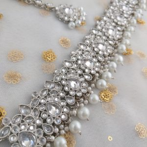 Sparkly Silver Pearl Set Necklaces Jhumka