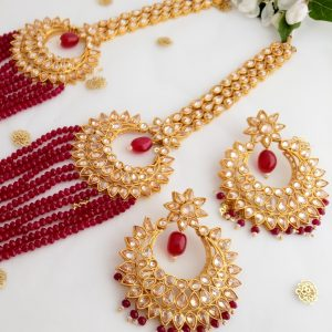 Trendsetting Red Set Necklaces Rani-haar