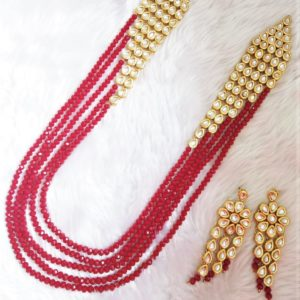 Vibrant Red Long Necklace Necklaces Rani-haar