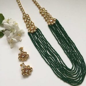 Graceful Emerald Green Haar Necklaces Green