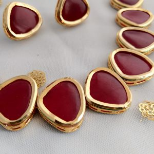 Impressive Ruby Kundan Set Necklaces Pink