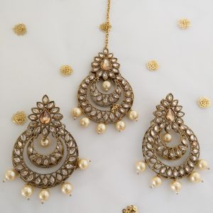 Stunning Tikka Set with Pearls NFShip Champagne Colour