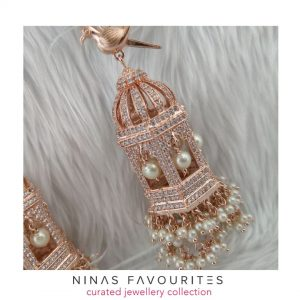 High Grade Designer Birdcage Earrings Earrings Rose-Gold