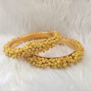 Pearl Cluster Bangles – Light Yellow – Size 2.8 Accessories Sale