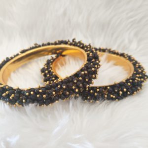 Pearl Cluster Bangles – Black – Size 2.6 Accessories Black
