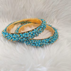 Pearl Cluster Bangles – Turquoise size 2.6 Accessories Blue