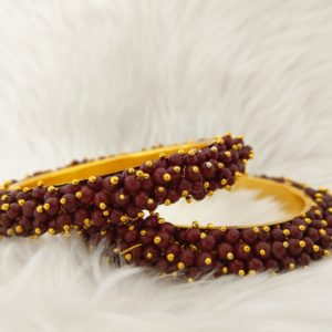 Pearl Cluster Bangles – Maroon – Size 2.6 Accessories Maroon