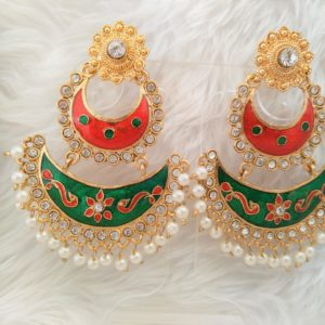 Aaliya Red/Green Earrings Earrings gold