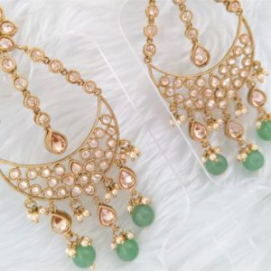Adorable Avaani Earrings – Pastel Green Earrings Champagne Colour