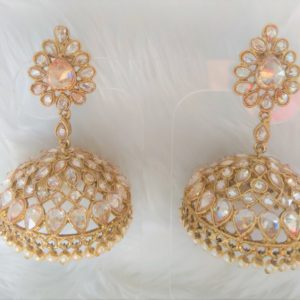 Iconic Sparkly Jhumkas – Champagne Gold Earrings Champagne Colour