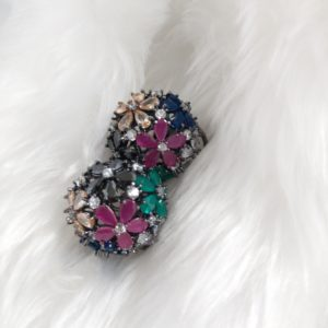 Multicoloured Cubic Zirconia Studs Earrings Black