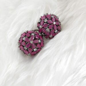 Ruby Pink Cubic Zirconia Studs Earrings Pink