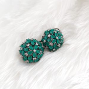 Emerald Green Cubic Zirconia Studs Earrings Green