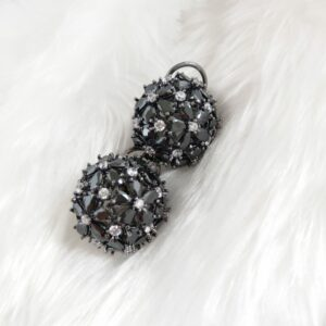 Midnight Black Cubic Zirconia Studs Earrings Black
