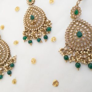 Sharmilie Emerald Green Tikka Set The Bollywood Trends Collection Champagne Colour