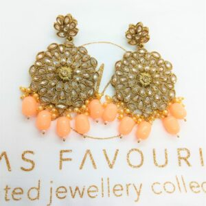 Geet – Peach Polki Earrings Earrings gold