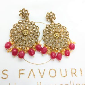 Geet – Red Polki Earrings Earrings gold