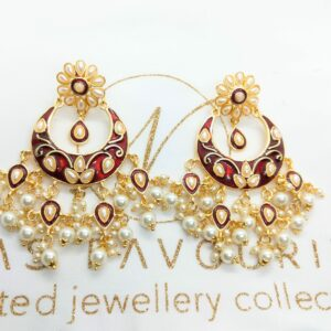 Maroon Meenakari Earrings Earrings Maroon