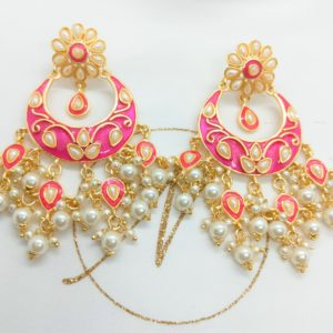 Bright Pink Meenakari Earrings Earrings Pearls