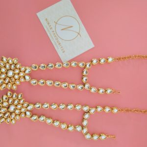 Ex-Display – Flowery Kundan Hand Jewellery Accessories Hand Jewellery