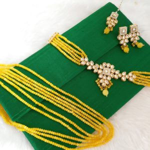 Stunning Bright Yellow Kundan Set Necklaces Neck-choker