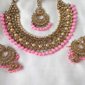 Hot Pink Band Necklace Set Necklaces Jhumka